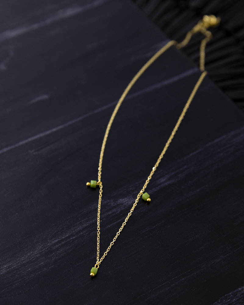 Squarebead Necklace Green