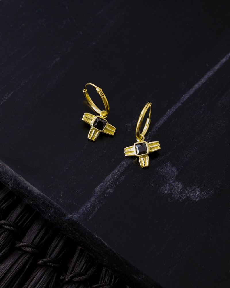 Sculpted Wing Hoop Gold