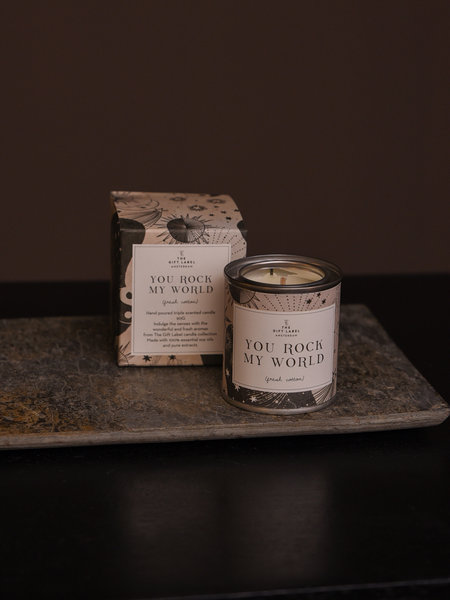 The Giftlabel You Rock My World Candle Small Fresh Cotton