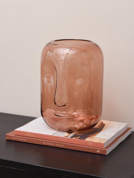 Vase Face Brown Glass