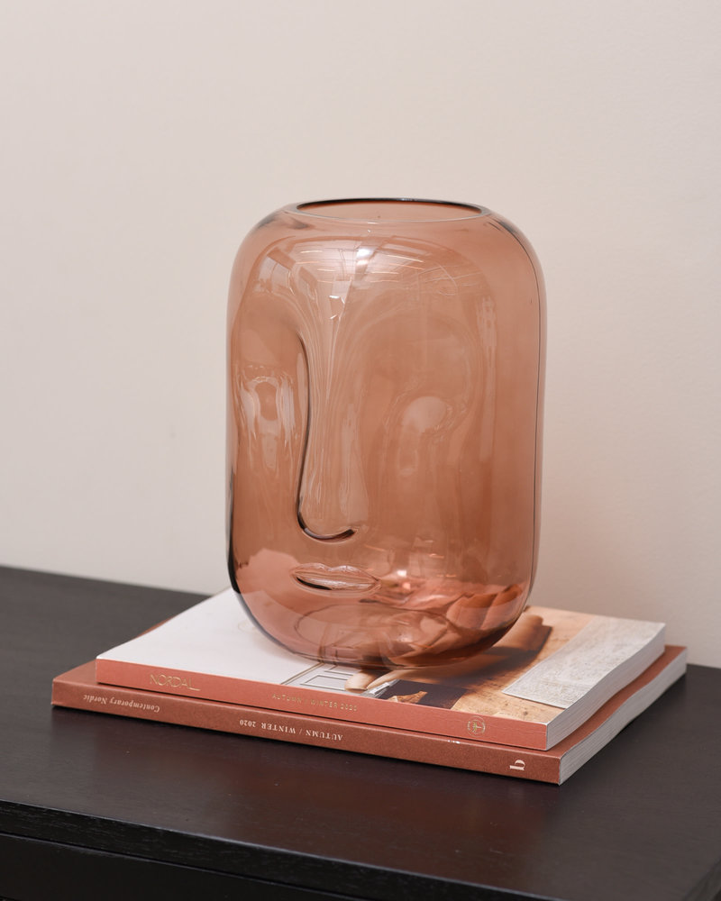 Vase Face Brown Glass