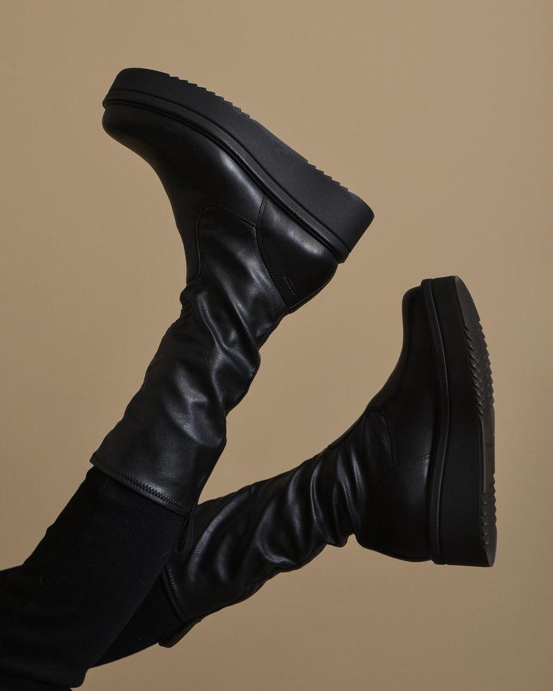 Tara Leather Sock Boots Black