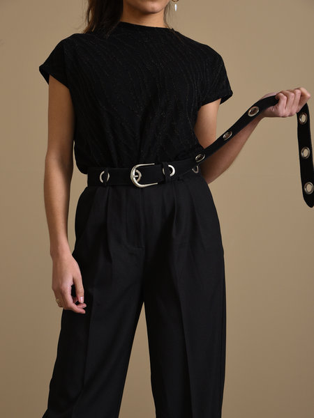 Suede Holes Belt Black