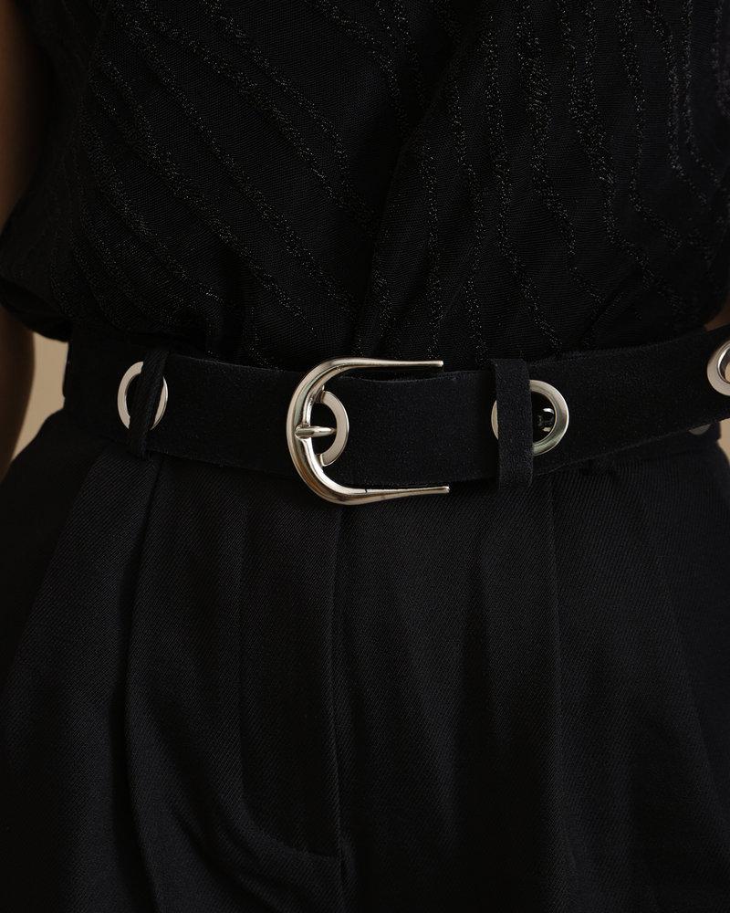 Suede Holes Belt Black