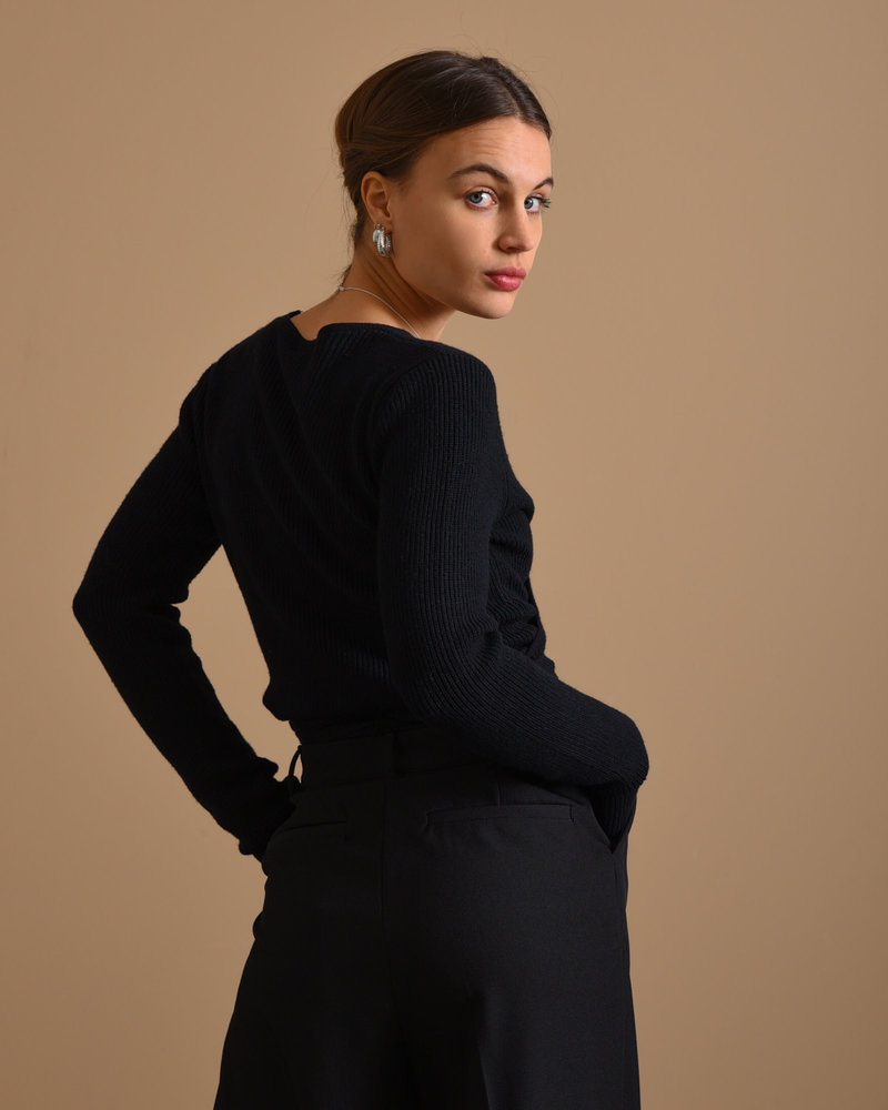 TILTIL Willy Knitted Wrap Top Black