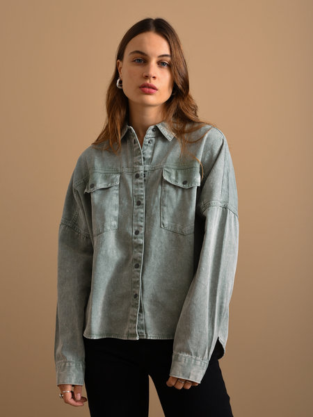 Noisy May Rica Oversized Acid Shirt Slate Gray