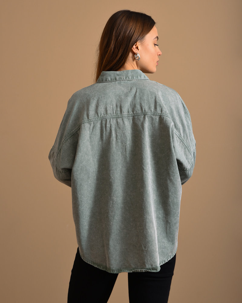 Rica Oversized Acid Shirt Slate Gray