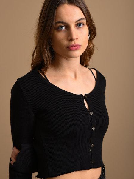 NAKD Light Knit Buttoned Cardigan Black