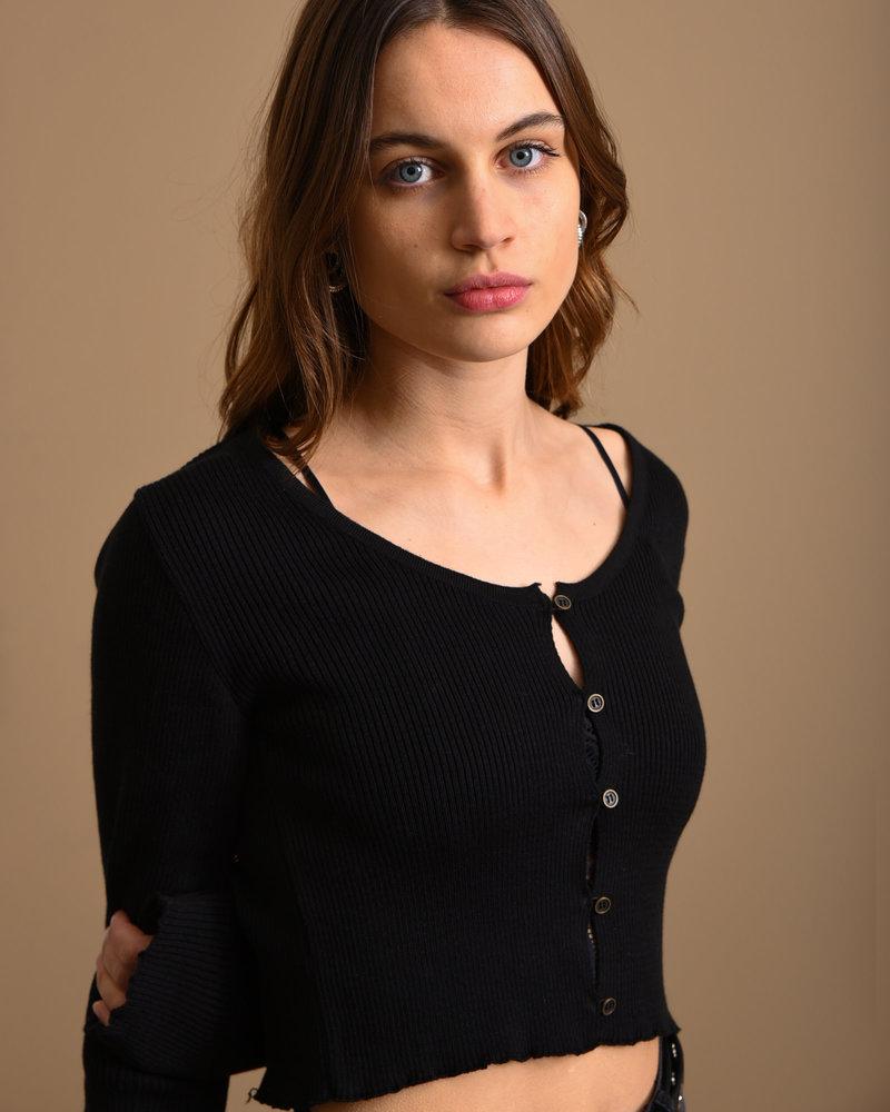Light Knit Buttoned Cardigan Black