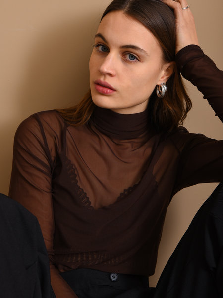 Things I Like Things I Love TILTIL Luna Mesh Top Brown
