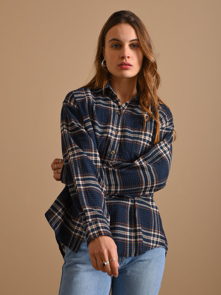 Things I Like Things I Love TILTIL Kylie Checked Blouse Navy