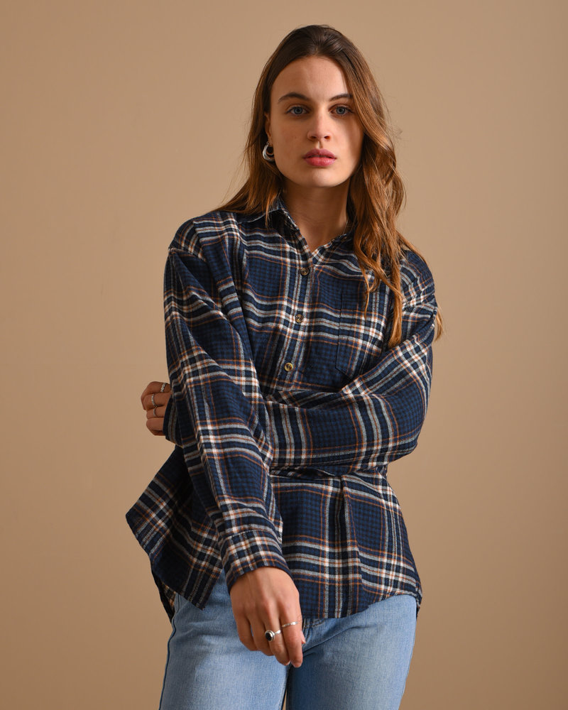 TILTIL Kylie Checked Blouse Navy