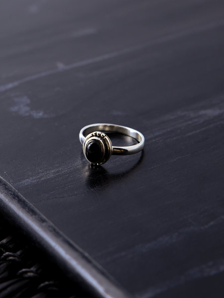 Things I Like Things I Love Stone Ring Black Silver Dots