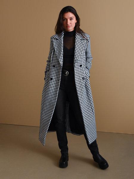 NAKD Houndstooth Coat Black & White