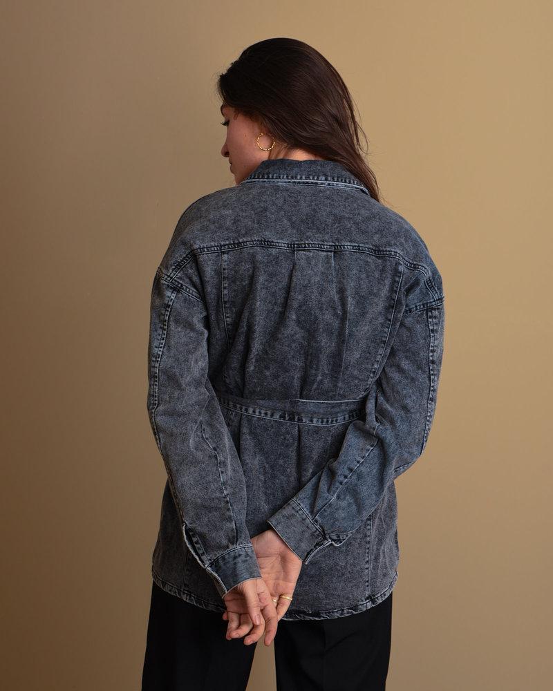 Hope Belt Denim Shirt Black