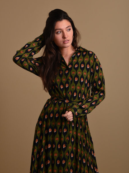 Things I Like Things I Love TILTIL Olivia Long Dress Avocado Print