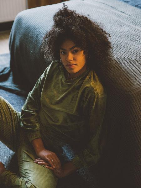 Louise Velvet Sweater Green