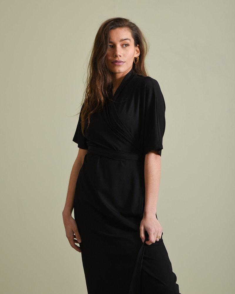 Enice Wrap Dress Black