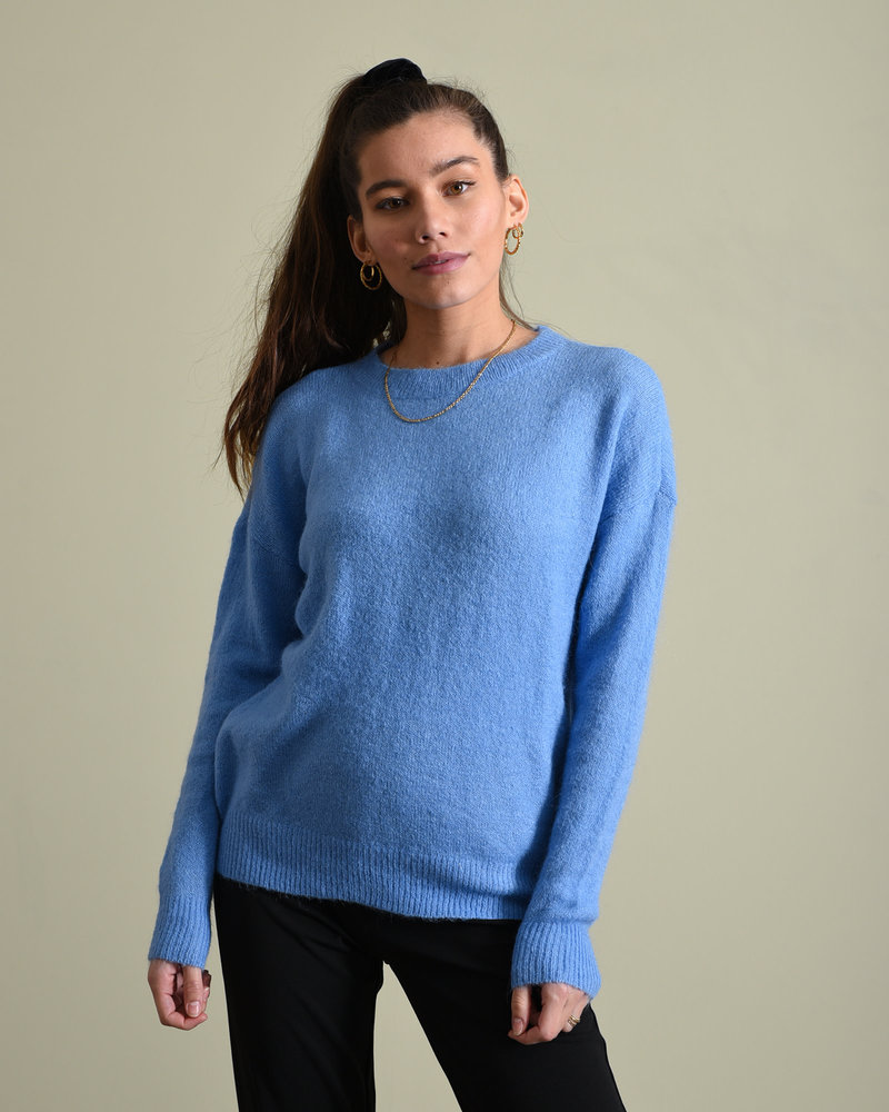 Femme Mohair O Pullover Silver Lake Blue