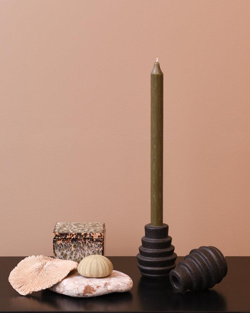 Candle Holder Black Stone