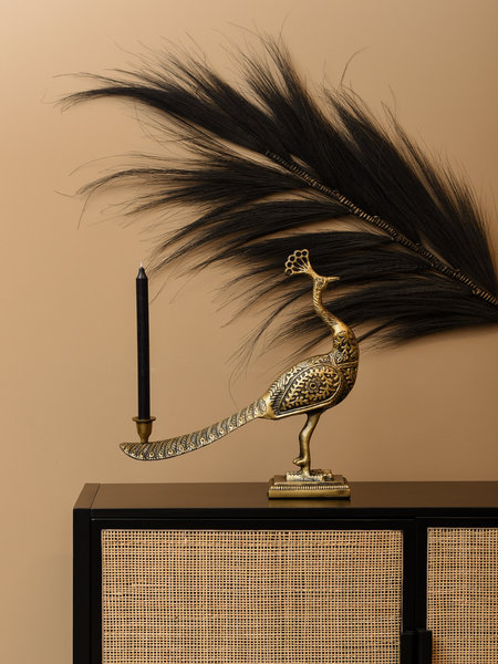 Candle Holder Peacock Bronze