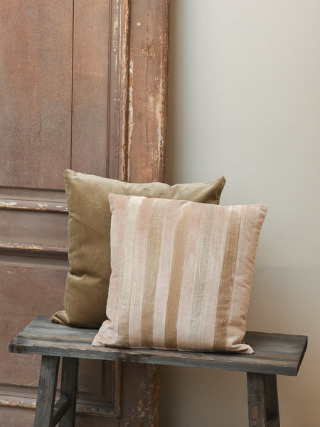 HK Living Cushion Striped Velvet Beige/Liver
