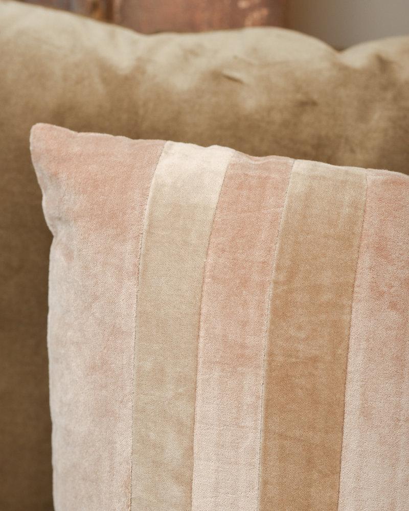 Cushion Striped Velvet Beige/Liver