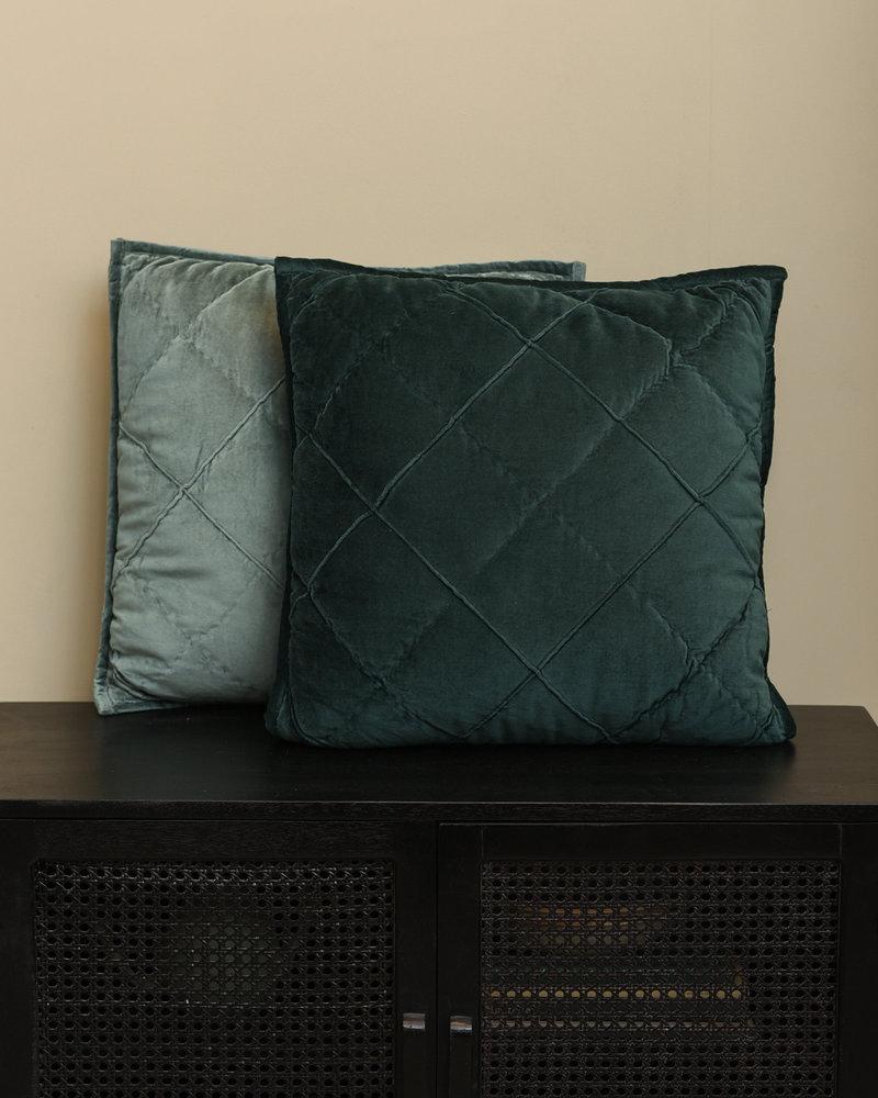 Cushion Diamond Velvet Petrol