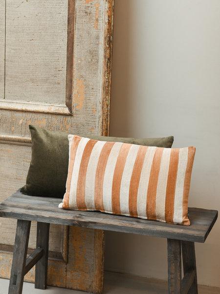HK Living Striped Velvet Cushion Brown/Natural