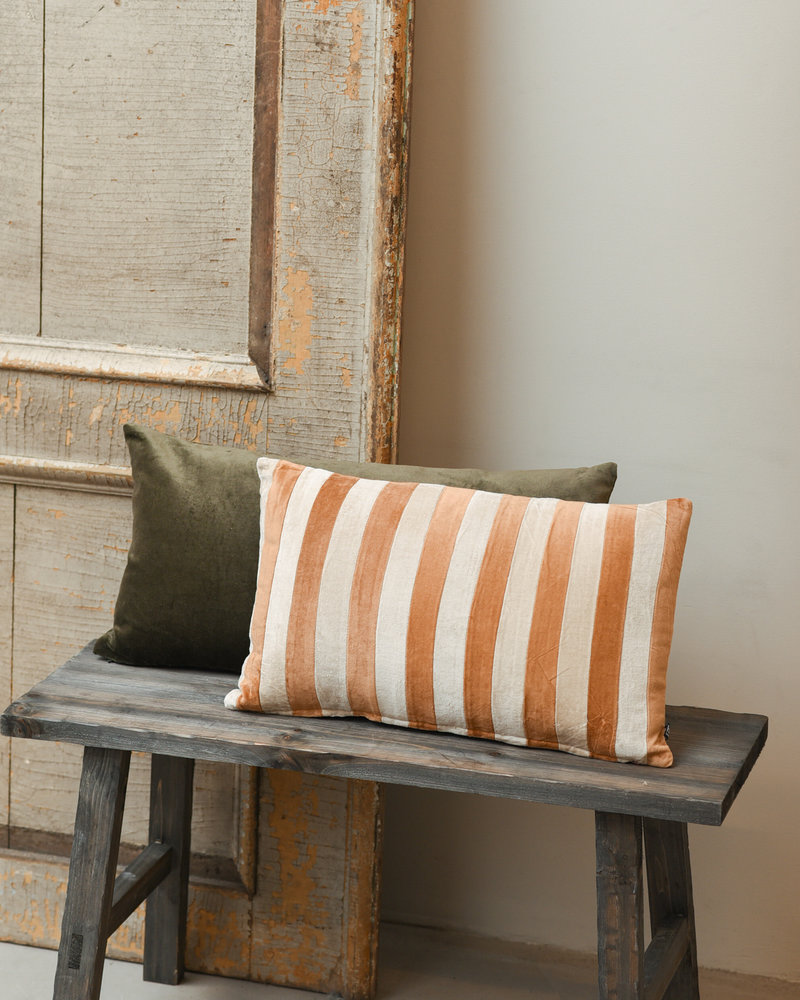 Cushion Striped Velvet Brown/Natural