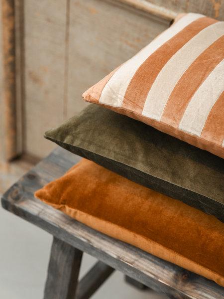 HK Living Cushion Striped Velvet Cushion Brown/Natural
