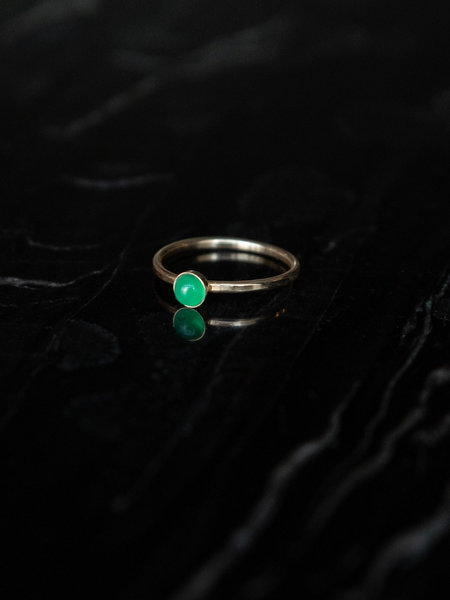 The Two Collectors Mini Green Onyx Ring  Goldfilled
