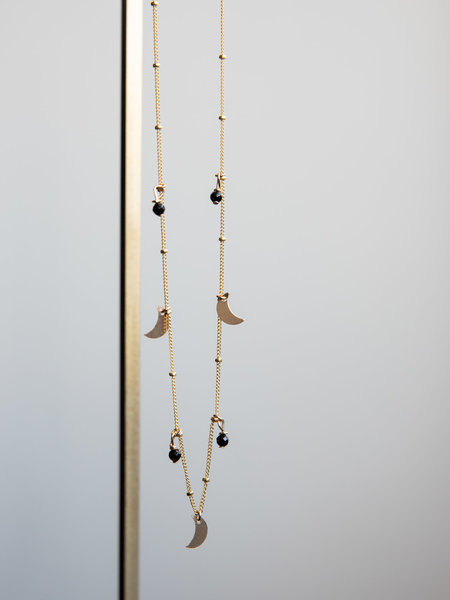 The Two Collectors Galaxy Moon Onyx Necklace Goldfilled