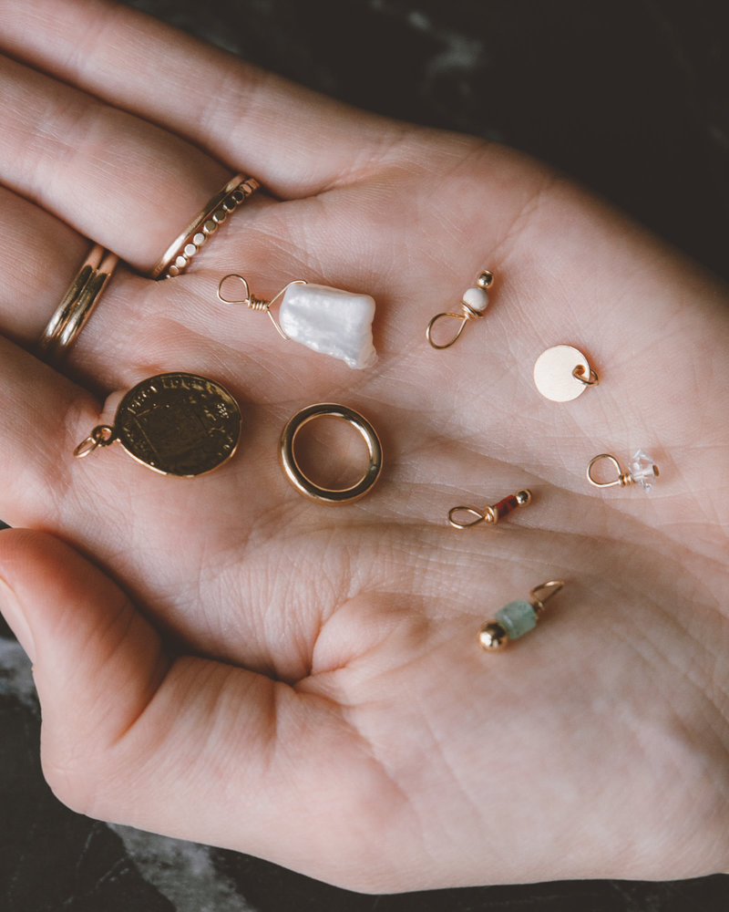 Earring Charm June Pearl Goldfilled