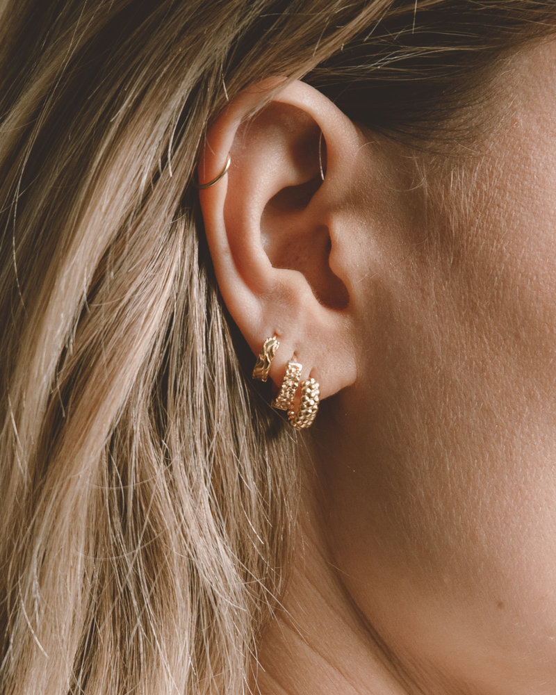 Waves Huggie Gold Plated Earring