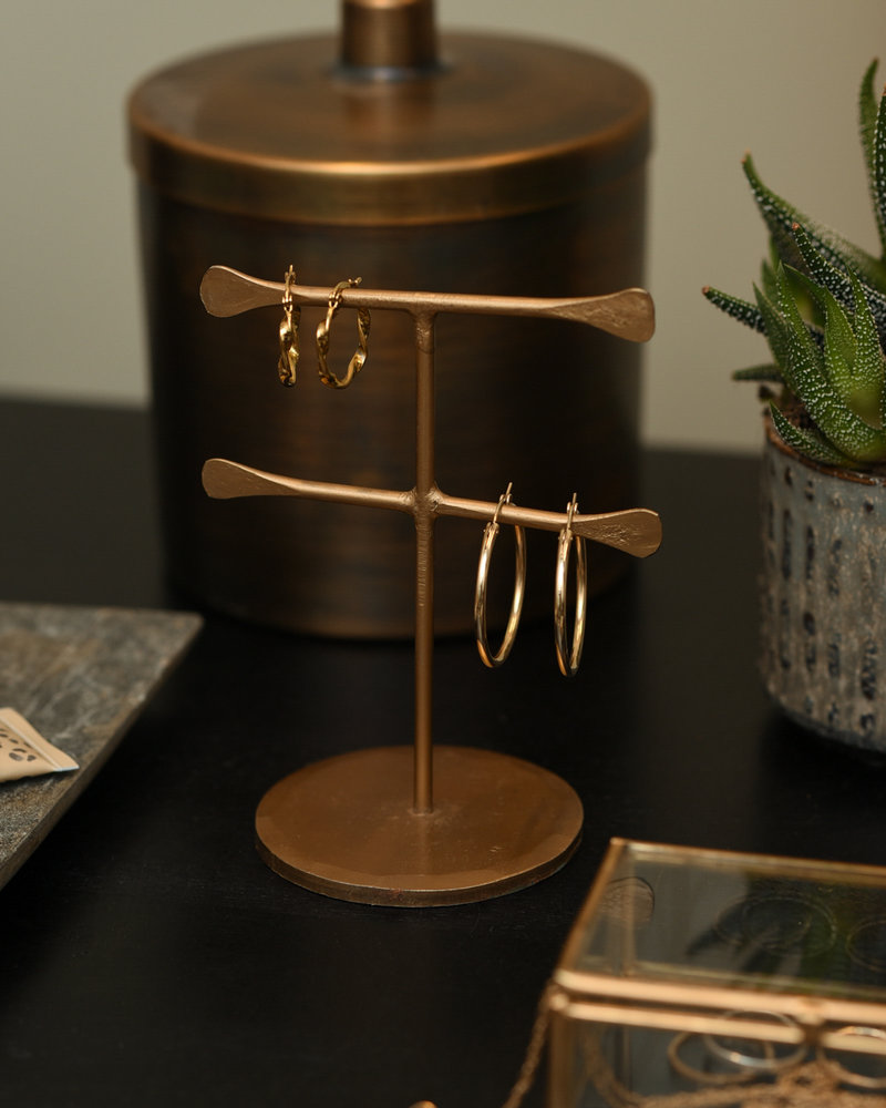 Hand Forged Jewelry Stand Brass Dubble