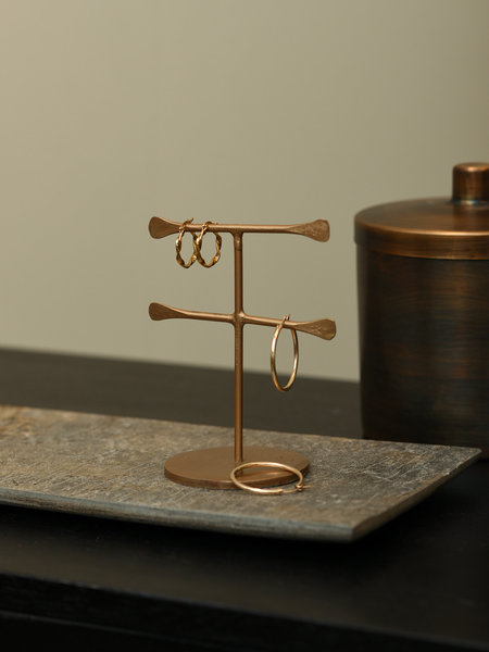 Madam Stoltz Hand Forged Jewelry Stand Brass Dubble