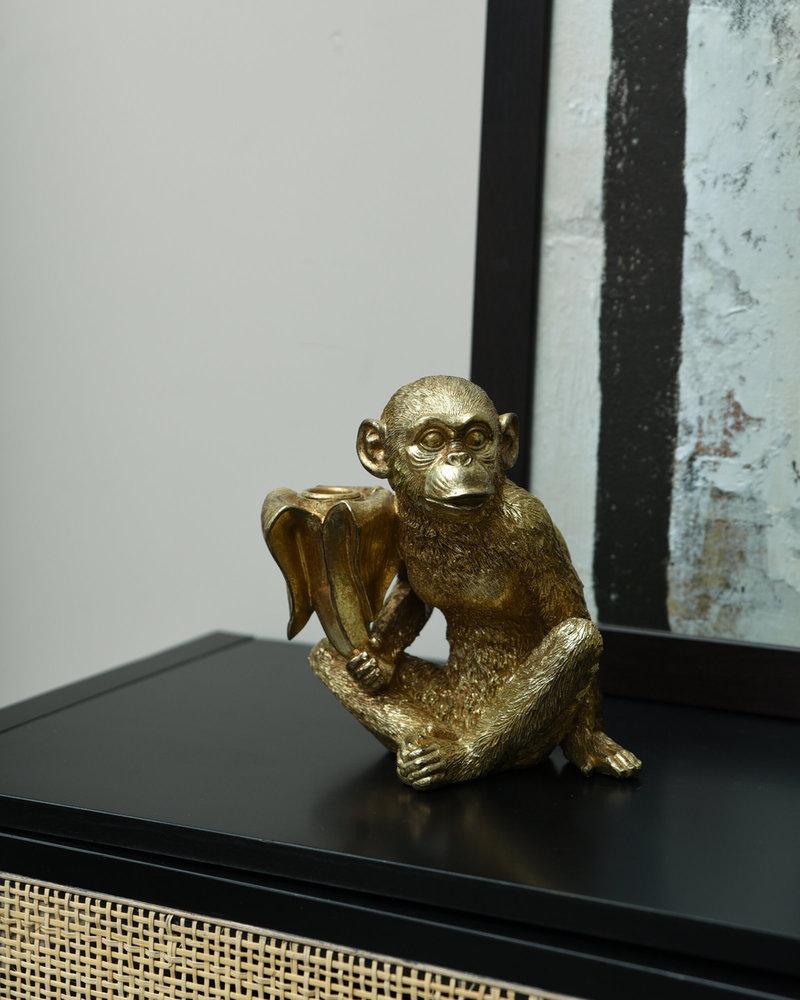 Candle Holder Monkey Gold