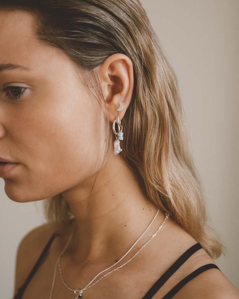 Earring Charm June Pearl Silver