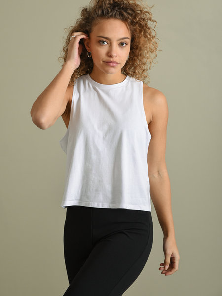 Noisy May Hailey Crop Tank Top Bright White