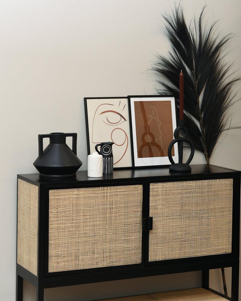 Vase Black With Handles