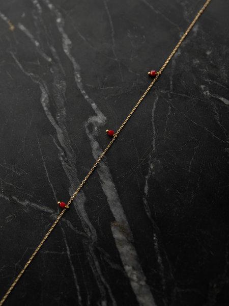 Ess Yello Square Bead Necklace Red