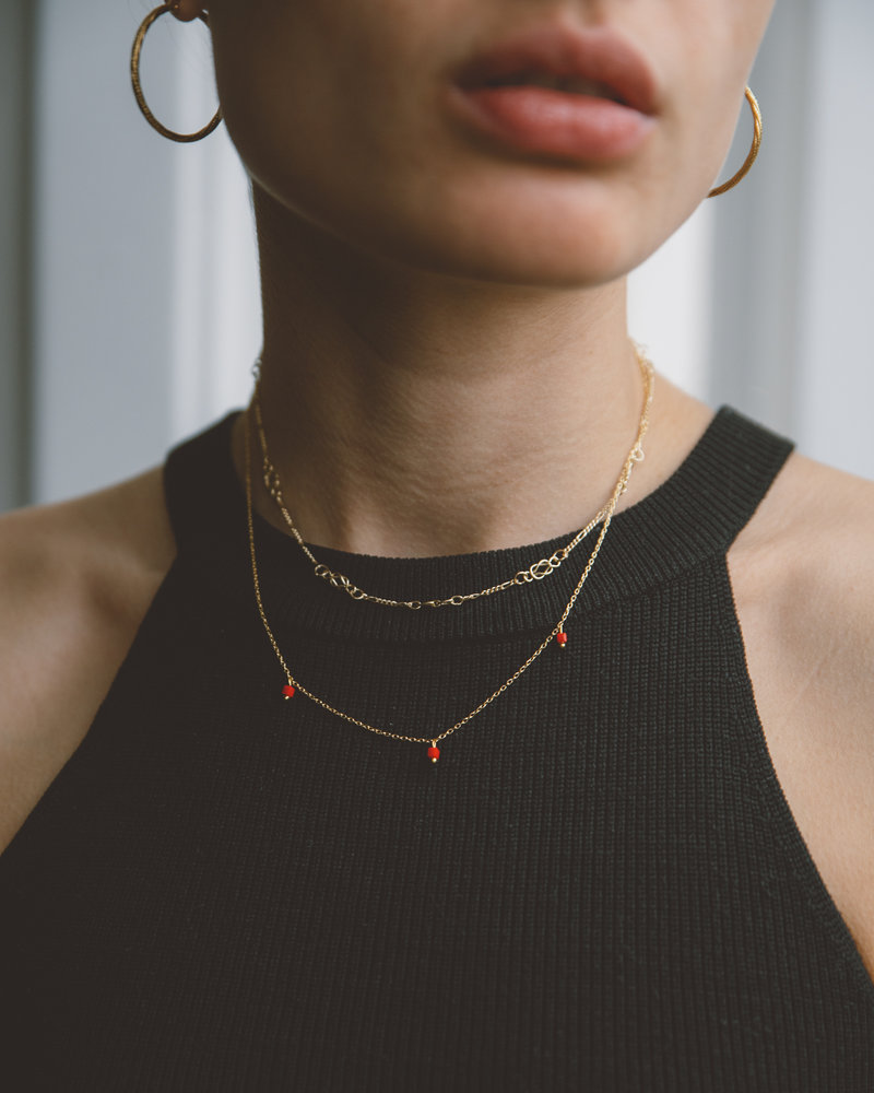 Square Bead Necklace Red