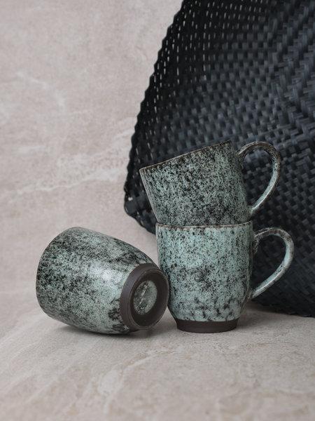 Madam Stoltz Mug Stoneware Black/Green With Ear