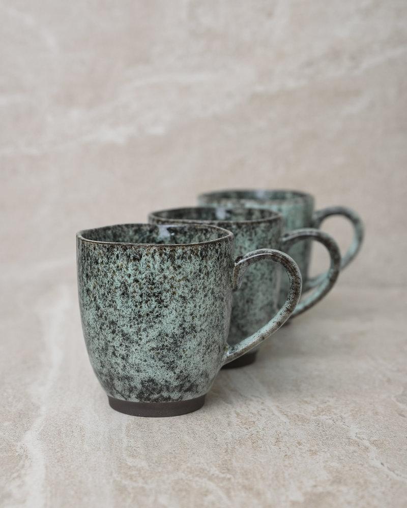 Mug Stoneware Black/Green With Ear