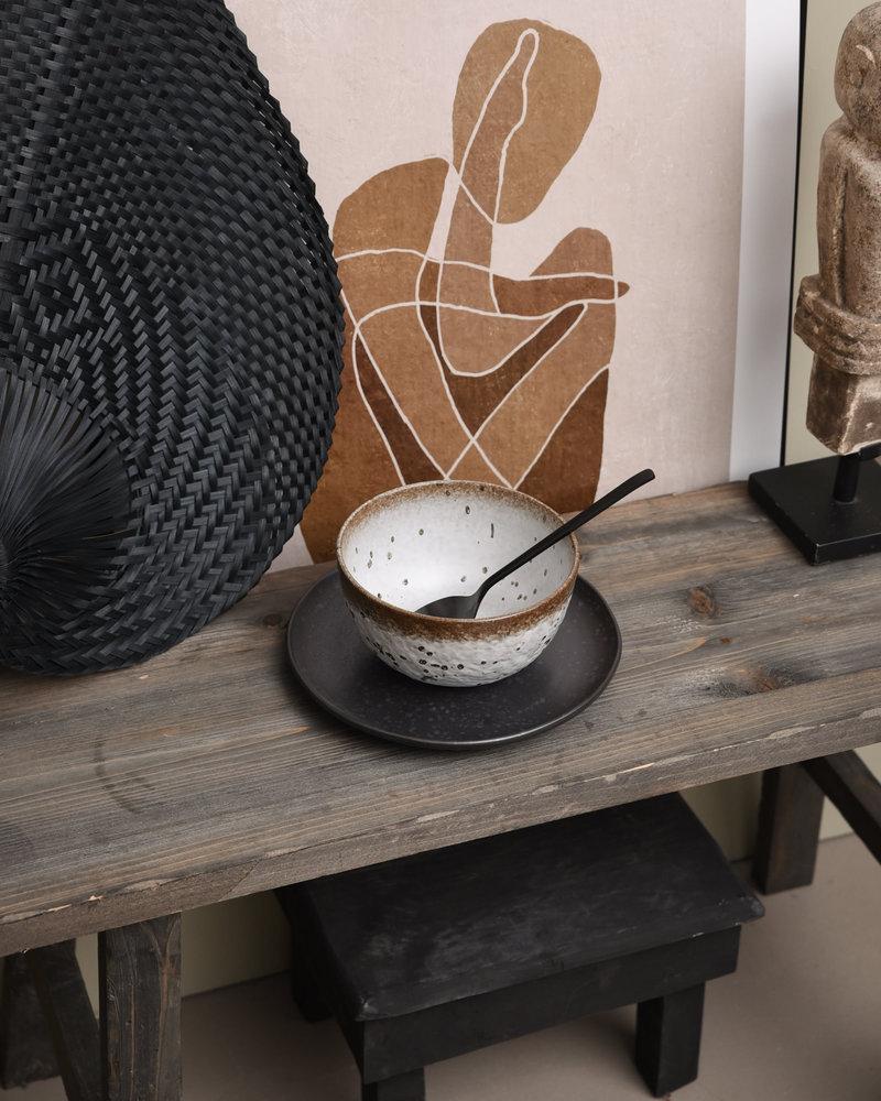 Bowl White/Brown Stoneware