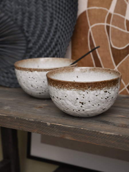 Madam Stoltz Bowl White/Brown Stoneware