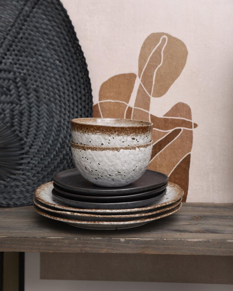Big Bowl White/Brown Stoneware
