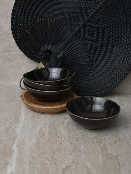 Broste Big Shallow Bowl Black Coal