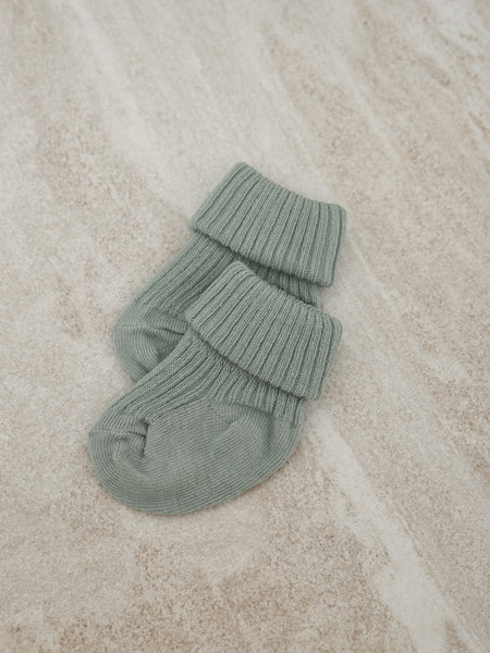 MP Denmark Baby Socks Cotton Rib Granite Green